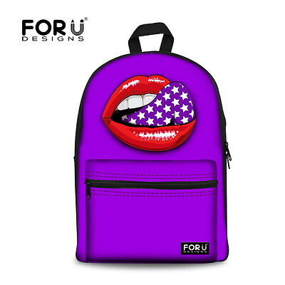 Women's Fashion Canvas Backpack Lips Printed School Bag Travel Rucksack Satchel