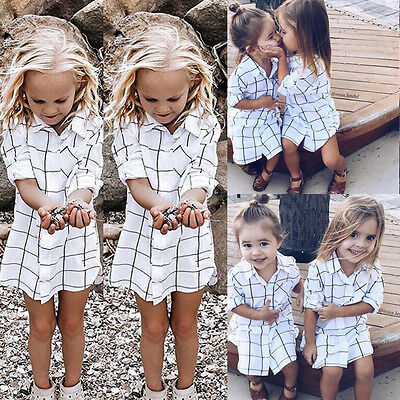 USA Toddler Kids Baby Girls Outfits Clothes Plaid T-shirt Dress Skirt Set Outfit