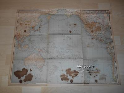 "Old Vtg 1942 THEATER OF WAR IN THE PACIFIC OCEAN WALL MAP 26""x 20"" Hanging Decor"