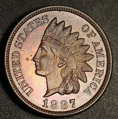 1887 INDIAN HEAD CENT - AU UNC - With MIRRORED PROOF LIKE SURFACES!