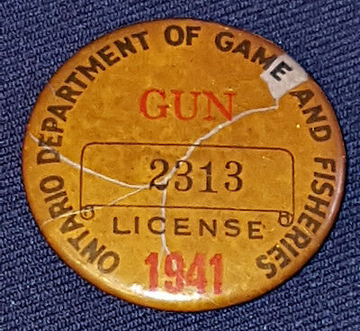 1941 - Ontario Department Of Game And Fisheries - Gun - #2313 - License - Button