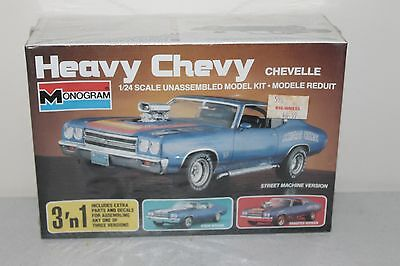 Heavy Chevy Chevelle 3 N 1 Monogram 1/24 Model Kit