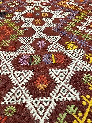 Antique 1930-1939s Natural Dyes 5x9ft Cicim Embroidered Flat Woven Dowry Kilim