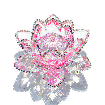 Crystal Sparkle Pink Crystal Lotus Flower Feng Shui Home Decor with Gift Box