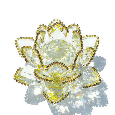 H&D Crystal Sparkle Gold Crystal Lotus Flower Feng Shui Home Decor with Gift Box