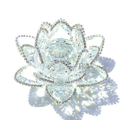 Crystal Sparkle Crystal Lotus Flower Feng Shui Home Decor with Gift Box, 4-Inch
