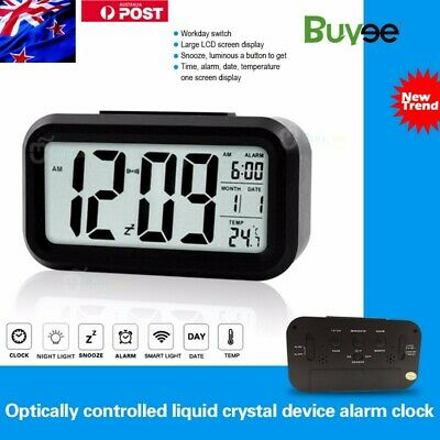 New Battery Digital Alarm Clock with LCD Display Backlight Calendar Snooze AU