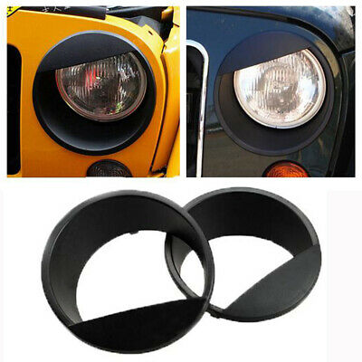 Black Bezels Front Headlight Angry Eyes Style Trim Cover For Jeep Wrangler 07-16