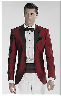 Burgundy Jacket Prom Men's Wedding Suits Slim Fit Groom Tuxedo Formal 2 PC Suits