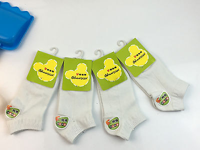 NEW White Children's student Soft Cotton Low Ankle Socks 3-5 6-8 9-12Y size