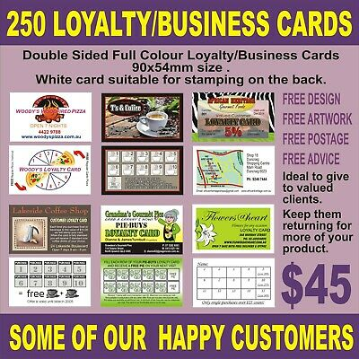 250 Loyalty/Business Cards  Full Colour Quality White Card Free Design & Artwork