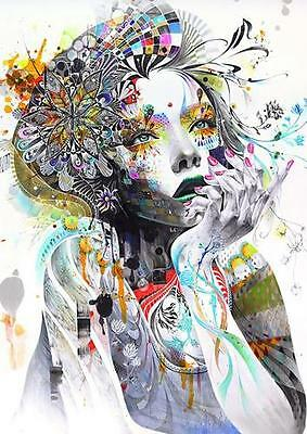 ABSTRACT GIRL FLOWERS POSTER Wall Art Photo Print A3 A4