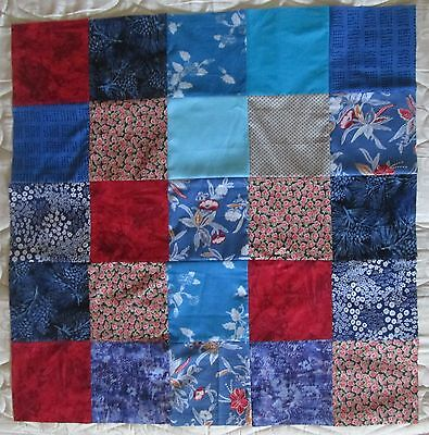 Unfinished Material Patchwork Quilt Top / Throw Rug Sewing Craft Fabric