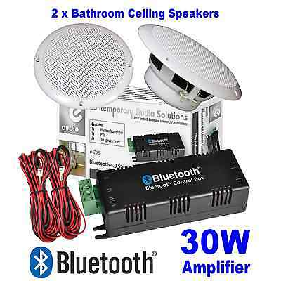 Bathroom Wireless Bluetooth Amplifier 2X White 165Mm - 6.5 Inch Ceiling Speakers