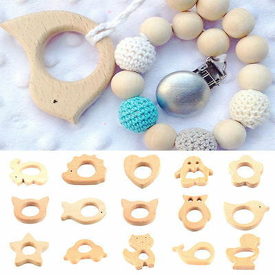 Handmade Natural Wooden Animal Bird Ring Baby Teether Teething Toy Shower Gift