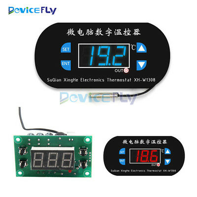 DC/AC 12V/220V Red/Blue LED Heat Cool Thermostat Temperature Controller Sensor