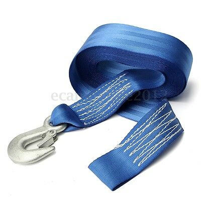 7.5m x 48mm Replacement Blue Hand Winch Crank Strap Rope For ATV Boat Trailer