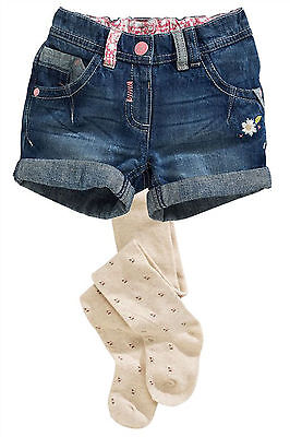 Next Girls 18-24 Months 1.5-2 Years Denim Shorts and Floral Tights