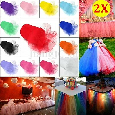 2Pcs Tulle Roll Spool Tutu Wedding Craft Wrap Party Bow Decoration 6''x100yd