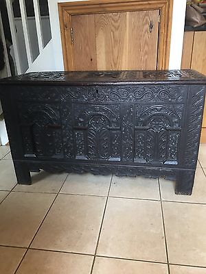 Lovely 17th Century, 3 Panelled Carved Oak Coffer