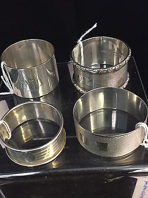 Vintage Mixed Lot of 4 Solid Silver Napkin Rings, Birmingham,100g #GA