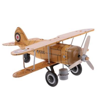 Vintage Tin Toys Aircraft Plane Model w/ Wind Up Key Collectible Gift Yellow