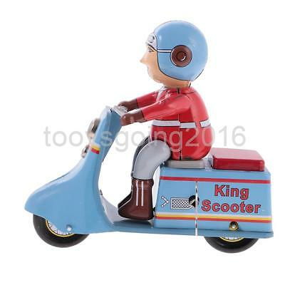 Vintage Tin Toys Scooter Motorbike Rider with Wind Up Key Collectible Gifts