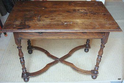 17th C OAK SIDE TABLE WITH FRIEZE DRAWER, BUN FEET AND X STRETCHER.
