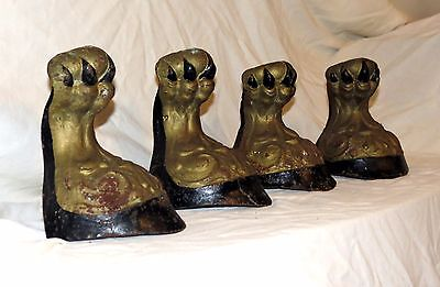 Vtg-Set-4-Victorian-Ball-and-Claw-Foot-Bathtub-Bath-Tub-Feet-Cast-Iron-Salvage