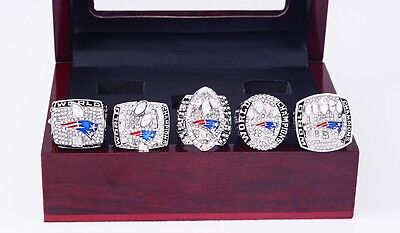 SET OF Five (5) TOM BRADY NE Patriots Super Bowl Rings  w/ case USA SELLER