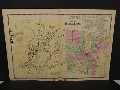 Vermont Rutland County Map Brandon Township  1869  Double Page  W7#66