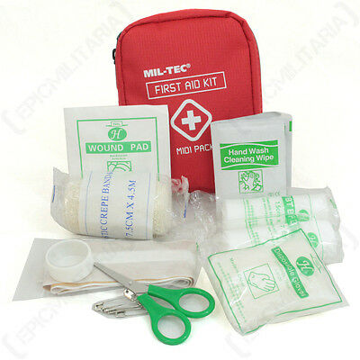 First Aid Midi Pack - Red Bag Case Set Kit Medical Emergency Hiking Car Walking