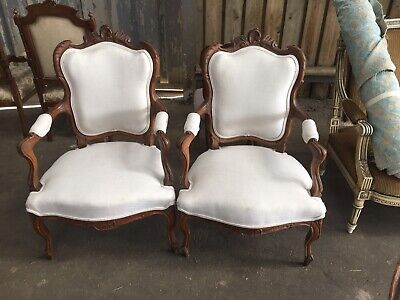 ReAl Antique Elbow chair, Open Armchair, French X2 Set