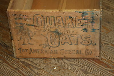 Antique Large Quaker Oats Shipping Crate Wood Wooden Box