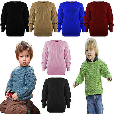 Kids Boys New Blue Chunky Knitted Warm Fairlisle Yoke Jumper Top Age 7-12 Yrs