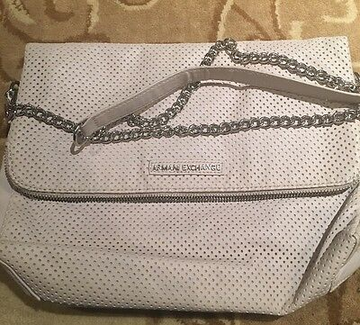 ARMANI EXCHANGE PERFORATED Foldable Silver Hardware Crossbody Clutch ... ec3530c0ae66d