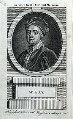 JOHN GAY, Poet original antique portrait print 1764
