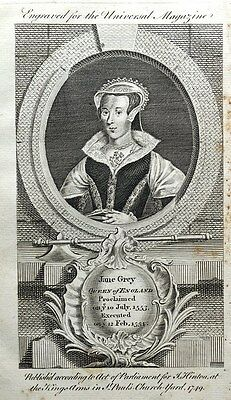 JANE GREY QUEEN OF ENGLAND Original  Copper Engraved Antique Portrait Print 1749