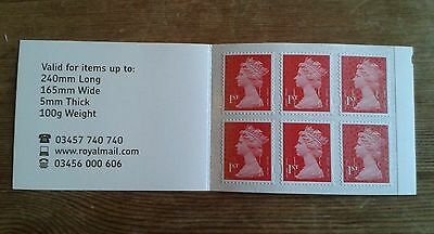 6 Unfranked First 1st Class POSTAGE STAMPS Self-Adhesive New Unused Booklet BNWT