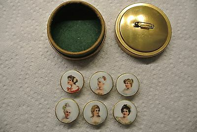 Antique Vtg Hand Painted Porcelain Victorian Portrait Cameo Women Button Studs