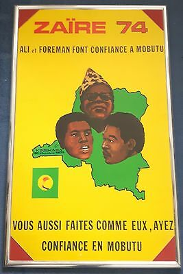 """1974 MUHAMMAD ALI v GEORGE FOREMAN on-site boxing poster Cassius Clay 23 x 38"""""""