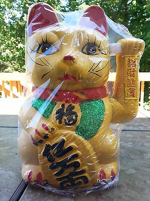 "10.5""H Chinese Good Luck Gold Waving Hand Paw Up Fortune Kitty Cat ( Ceramic )"
