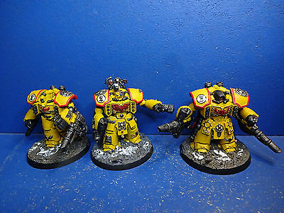 3 Imperial Fists Centurions der Space Marines BEMALT