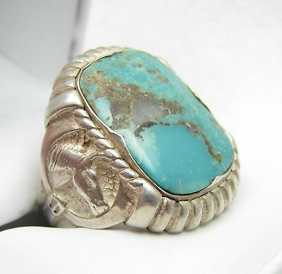 Vintage Navajo Horse Head Equestrian Turquoise Sterling Silver Ring Sz 10.25