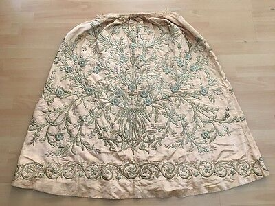 19t ANTIQUE OTTOMAN-TURKISH SILVER METALLIC DIVAL HAND EMBROIDERIED BRIDAL SKIRT