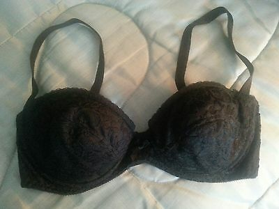 Vintage TRENDSETTERS 1162 Black Lace Demi Bra Lightly Padded Underwire 34 C