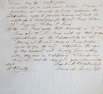 Handwritten Contract for Travel Across the Plains to California Gold Rush 1850