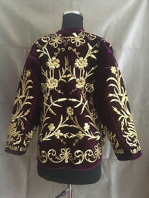 19th ANTIQUE OTTOMAN-TURKISH GOLD METALLIC DIVAL HAND EMBROIDERIED JACKET