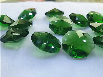 20PCS14mm Medium green Crystal Octagonal beads Decoration DIY Jewelry Accessore