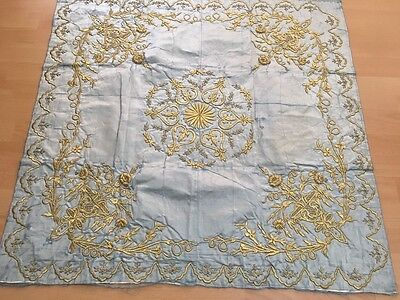 Antique Ottoman Turkish Gold Metallic Hand Embroidery On Silk Bohca